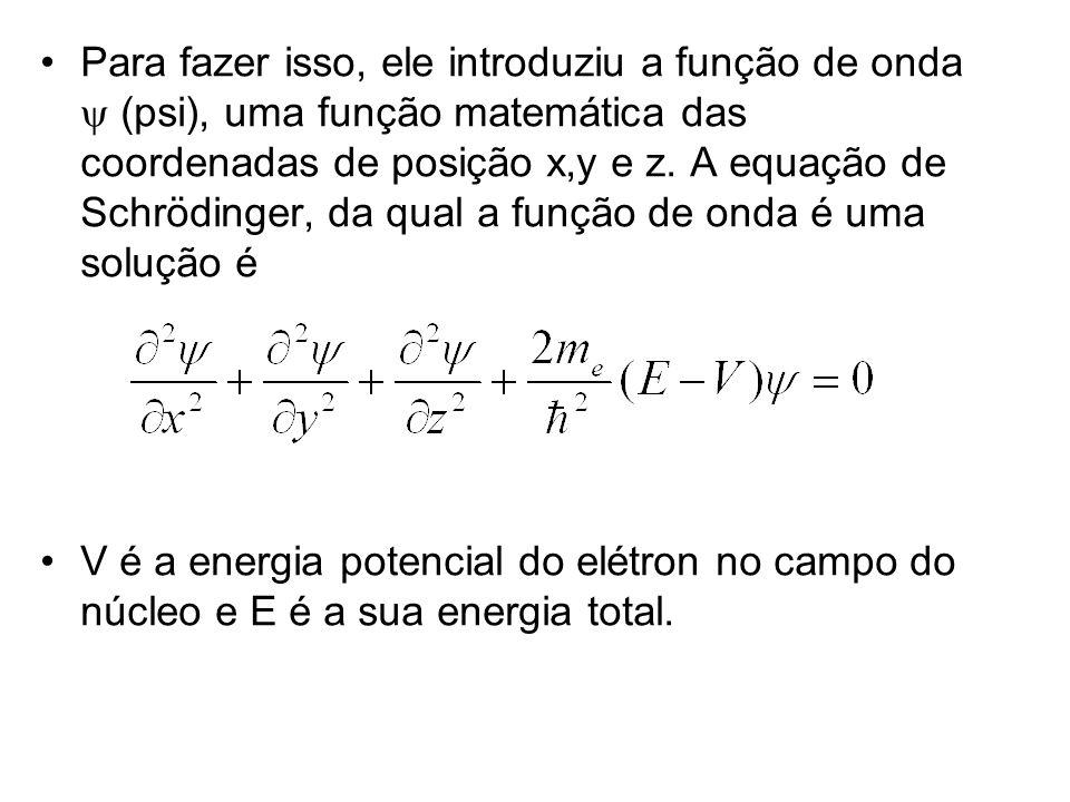 Para fazer isso, ele introduziu a função de onda y (psi), uma função matemática das coordenadas de posição x,y e z. A equação de Schrödinger, da qual a função de onda é uma solução é