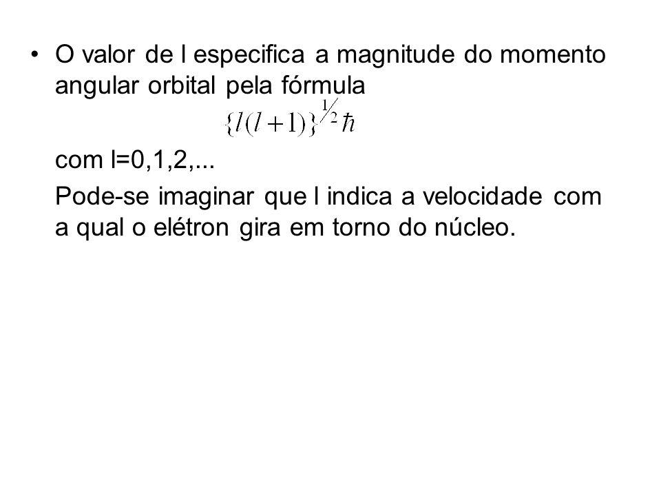 O valor de l especifica a magnitude do momento angular orbital pela fórmula