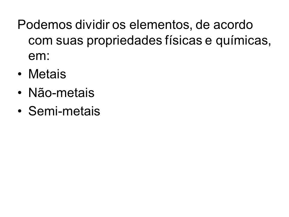 Podemos dividir os elementos, de acordo com suas propriedades físicas e químicas, em: