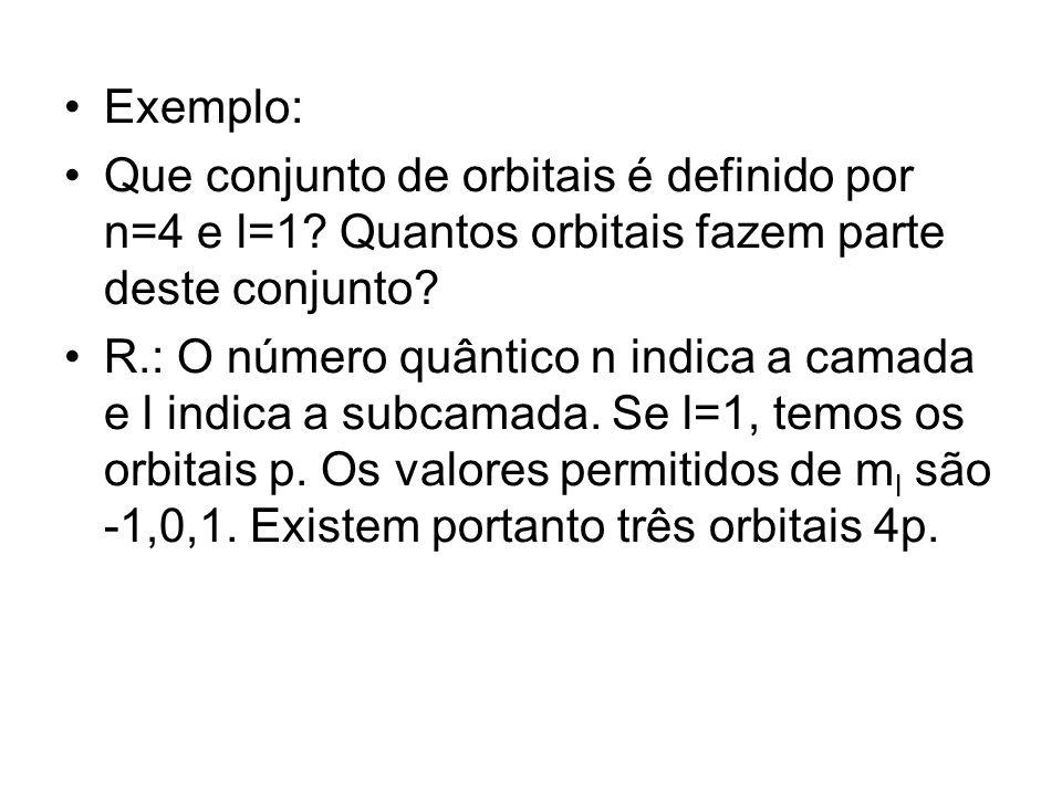 Exemplo: Que conjunto de orbitais é definido por n=4 e l=1 Quantos orbitais fazem parte deste conjunto