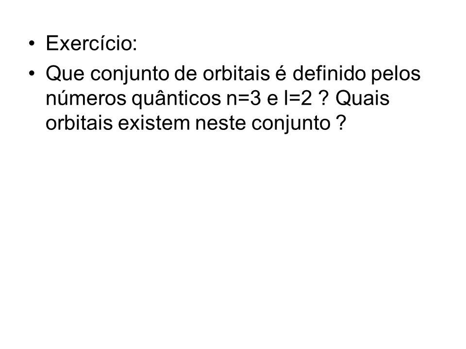Exercício: Que conjunto de orbitais é definido pelos números quânticos n=3 e l=2 .