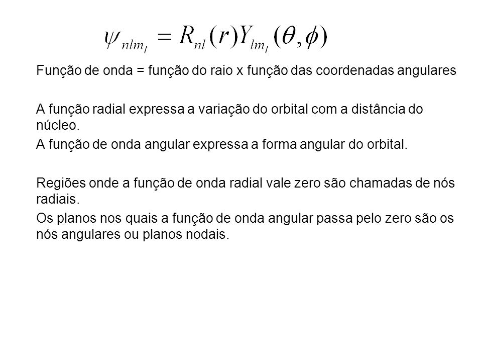 Função de onda = função do raio x função das coordenadas angulares