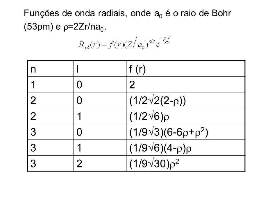 n l f (r) 1 2 (1/2√2(2-r)) (1/2√6)r 3 (1/9√3)(6-6r+r2) (1/9√6)(4-r)r