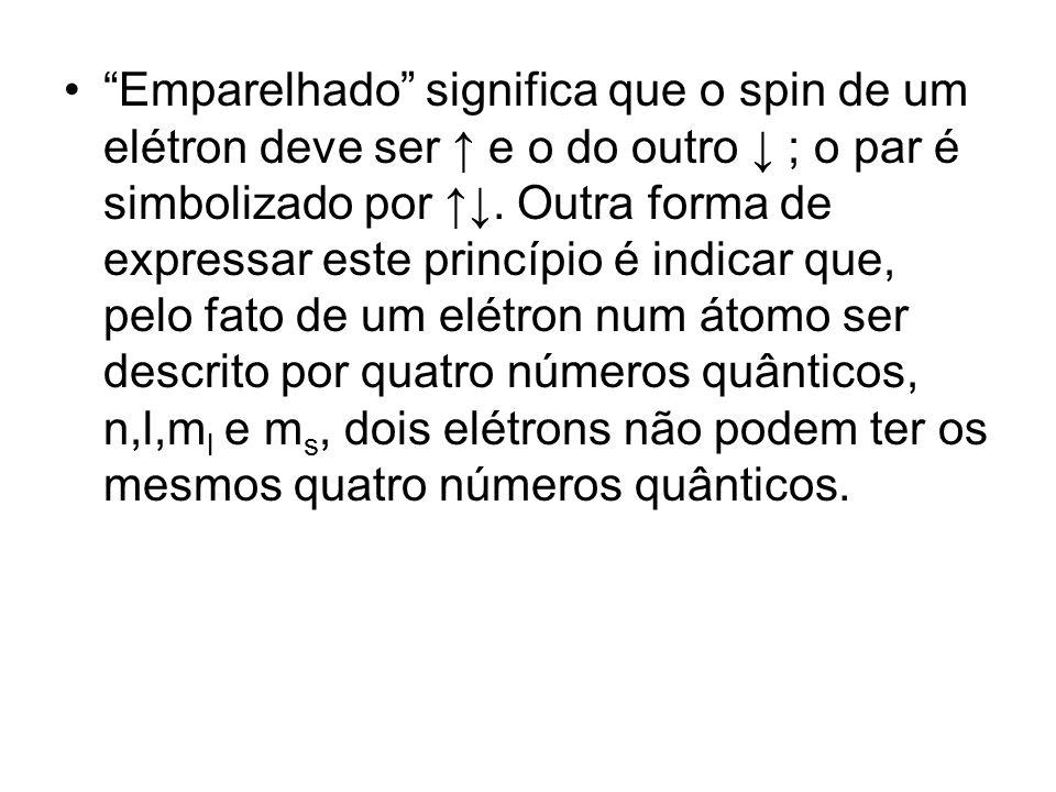 Emparelhado significa que o spin de um elétron deve ser ↑ e o do outro ↓ ; o par é simbolizado por ↑↓.