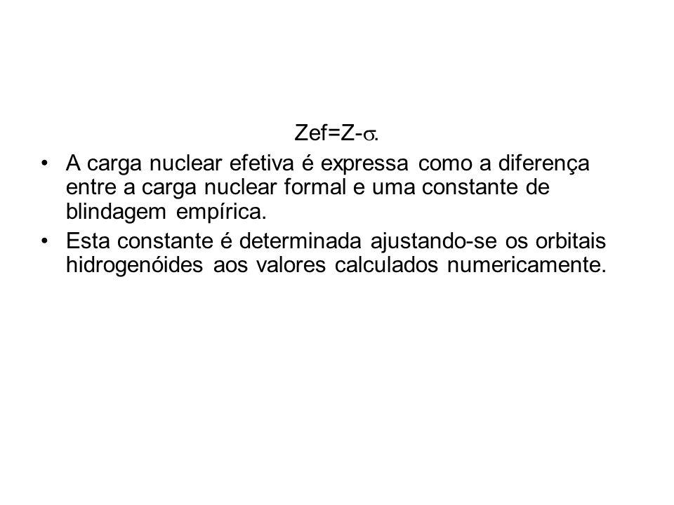 Zef=Z-s. A carga nuclear efetiva é expressa como a diferença entre a carga nuclear formal e uma constante de blindagem empírica.