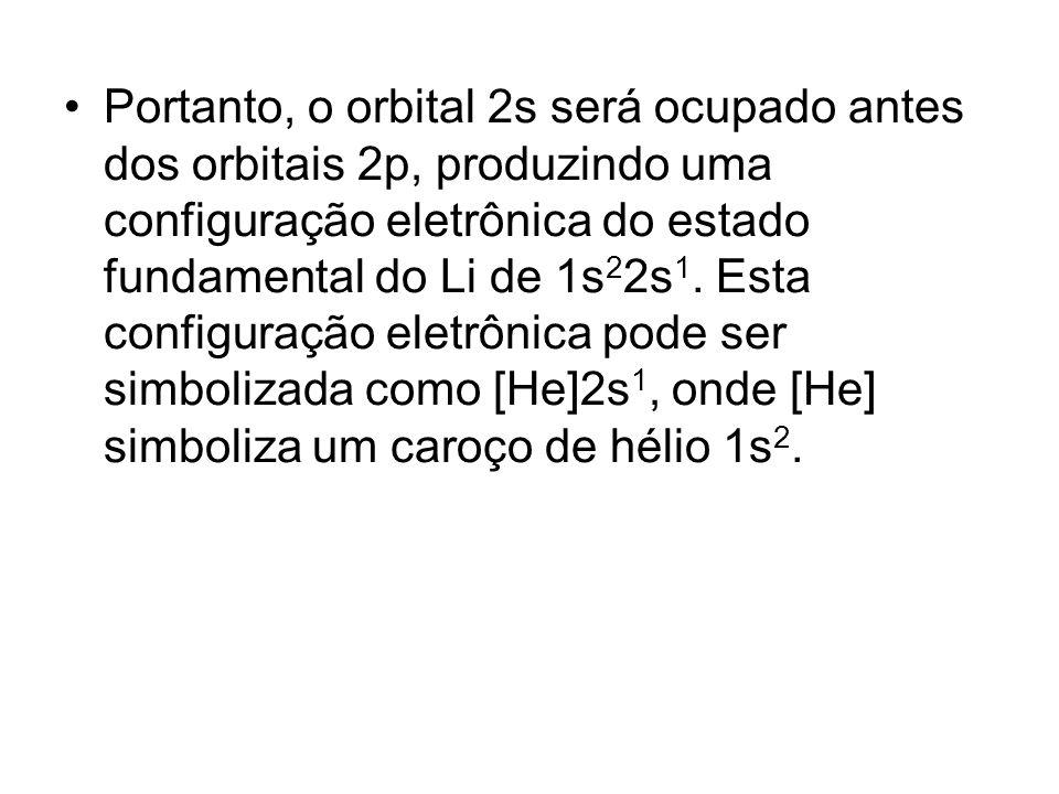 Portanto, o orbital 2s será ocupado antes dos orbitais 2p, produzindo uma configuração eletrônica do estado fundamental do Li de 1s22s1.