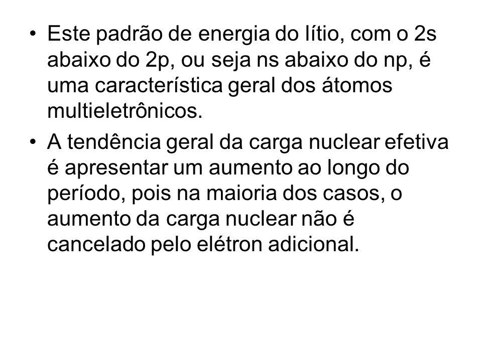 Este padrão de energia do lítio, com o 2s abaixo do 2p, ou seja ns abaixo do np, é uma característica geral dos átomos multieletrônicos.