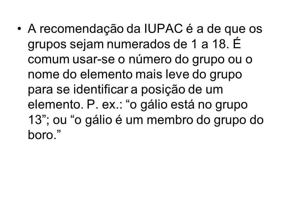 A recomendação da IUPAC é a de que os grupos sejam numerados de 1 a 18