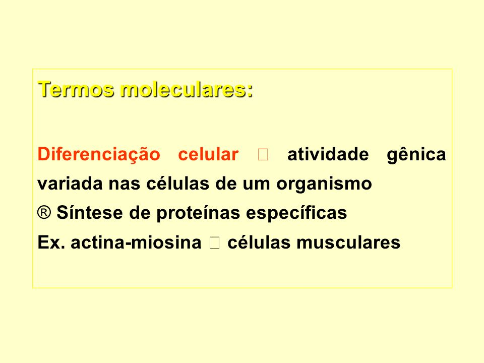 Termos moleculares: Diferenciação celular  atividade gênica variada nas células de um organismo. Síntese de proteínas específicas.