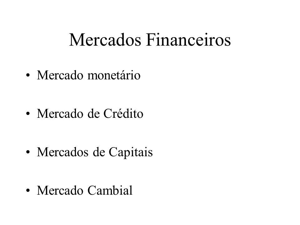 Mercados Financeiros Mercado monetário Mercado de Crédito
