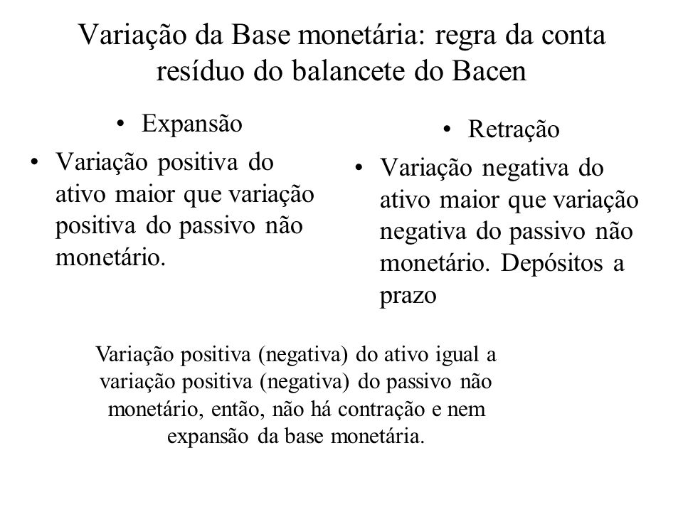 Variação da Base monetária: regra da conta resíduo do balancete do Bacen