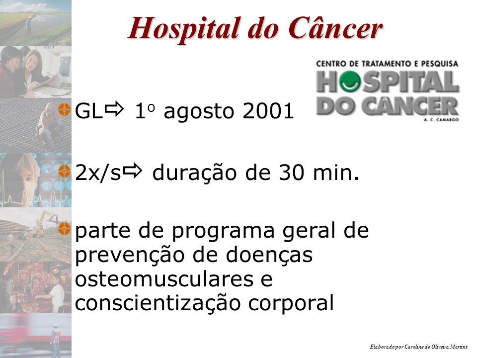 Hospital do Câncer GL 1o agosto 2001 2x/s duração de 30 min.