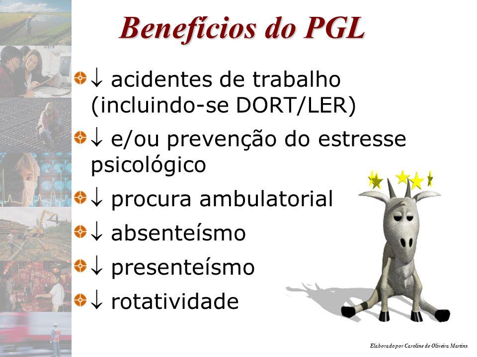 Benefícios do PGL  acidentes de trabalho (incluindo-se DORT/LER)