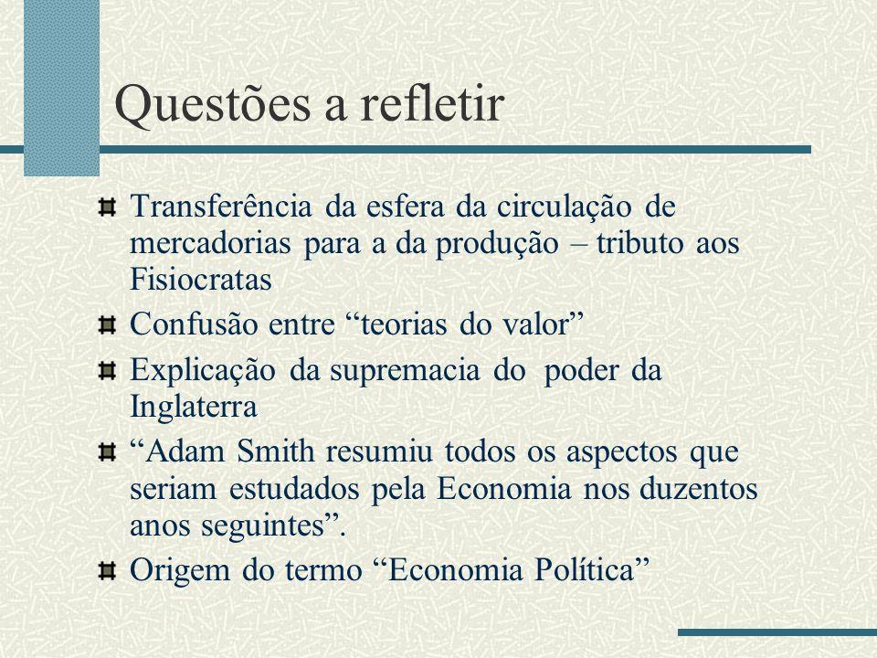 Questões a refletir Transferência da esfera da circulação de mercadorias para a da produção – tributo aos Fisiocratas.