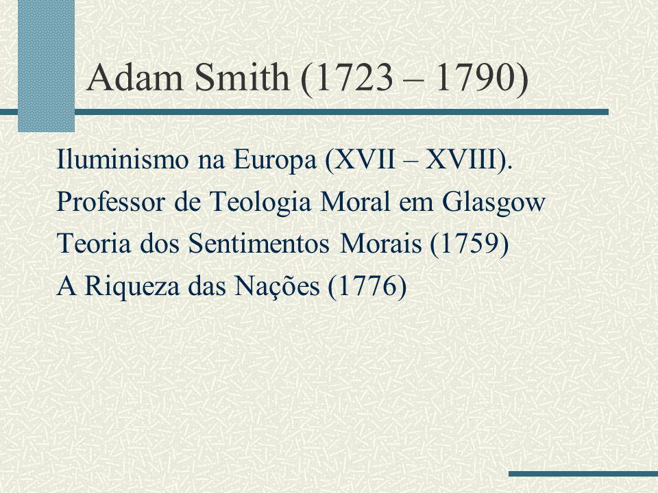 Adam Smith (1723 – 1790) Iluminismo na Europa (XVII – XVIII).