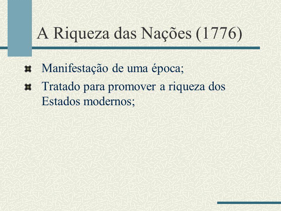 A Riqueza das Nações (1776) Manifestação de uma época;