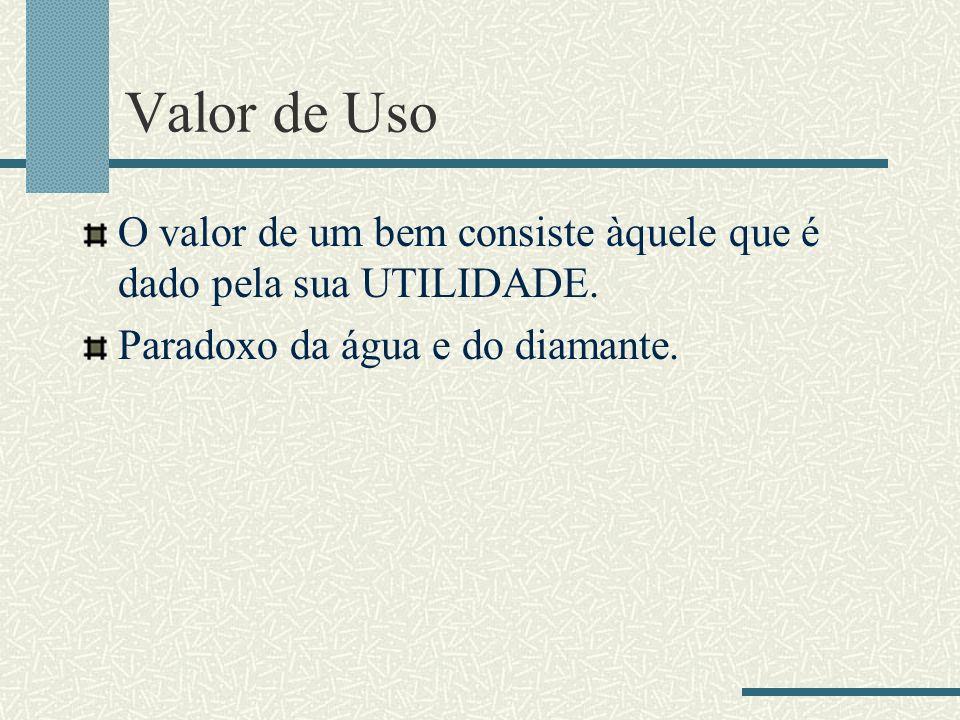 Valor de Uso O valor de um bem consiste àquele que é dado pela sua UTILIDADE.