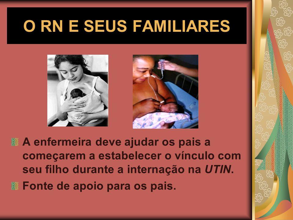 O RN E SEUS FAMILIARES A enfermeira deve ajudar os pais a começarem a estabelecer o vínculo com seu filho durante a internação na UTIN.
