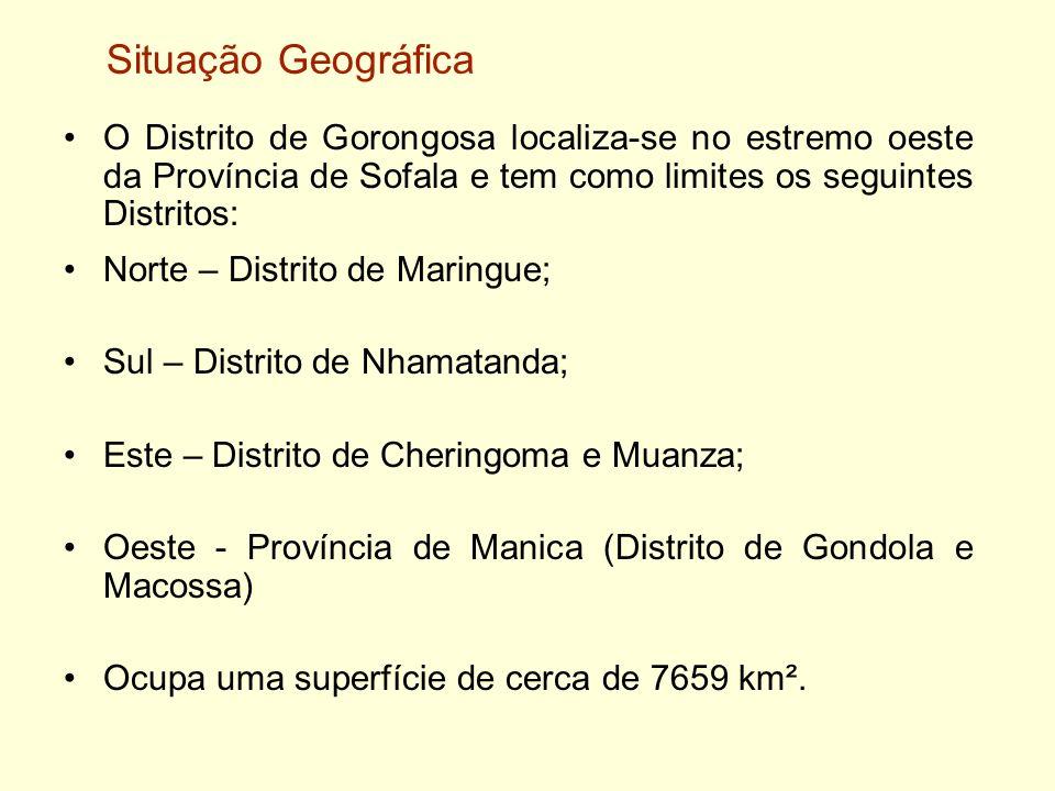Situação GeográficaO Distrito de Gorongosa localiza-se no estremo oeste da Província de Sofala e tem como limites os seguintes Distritos: