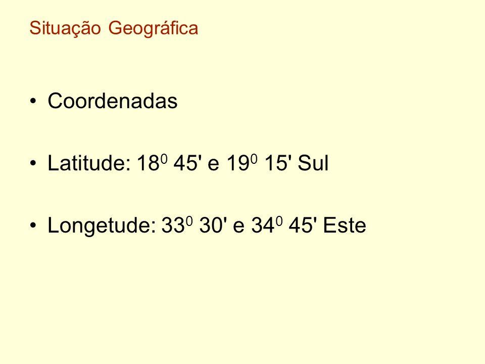 Coordenadas Latitude: 180 45 e 190 15 Sul