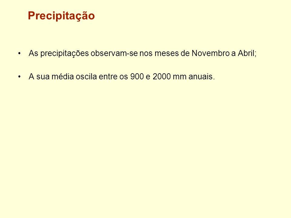 Precipitação As precipitações observam-se nos meses de Novembro a Abril; A sua média oscila entre os 900 e 2000 mm anuais.