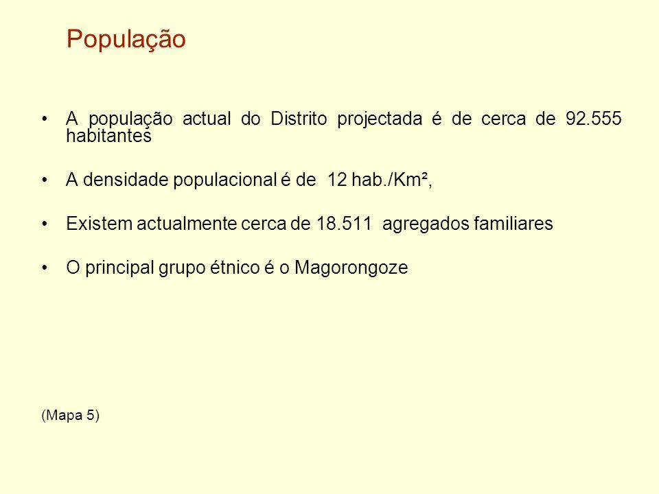 PopulaçãoA população actual do Distrito projectada é de cerca de 92.555 habitantes. A densidade populacional é de 12 hab./Km²,