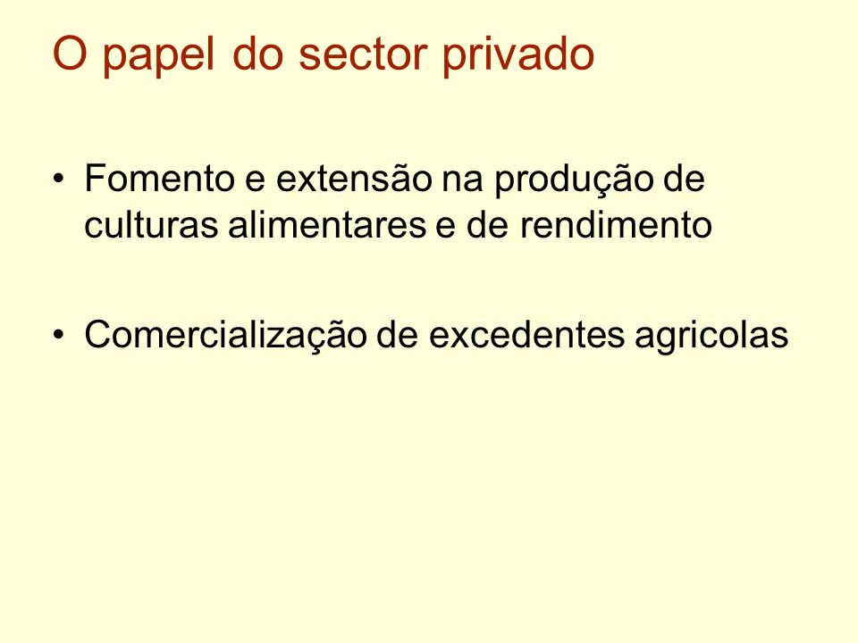 O papel do sector privado