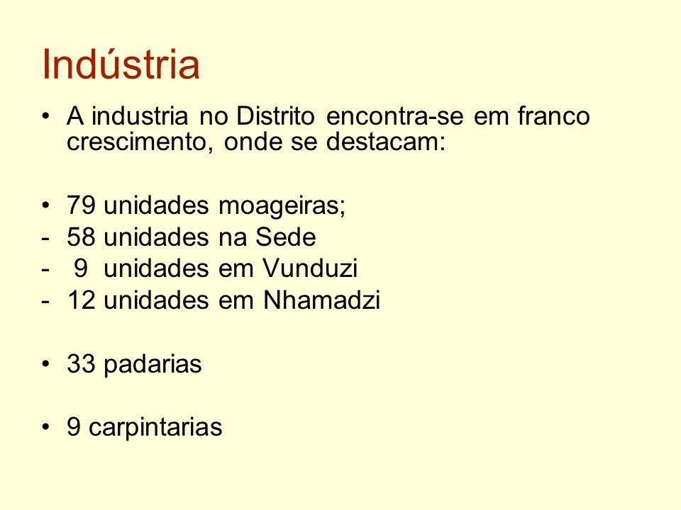 Indústria A industria no Distrito encontra-se em franco crescimento, onde se destacam: 79 unidades moageiras;