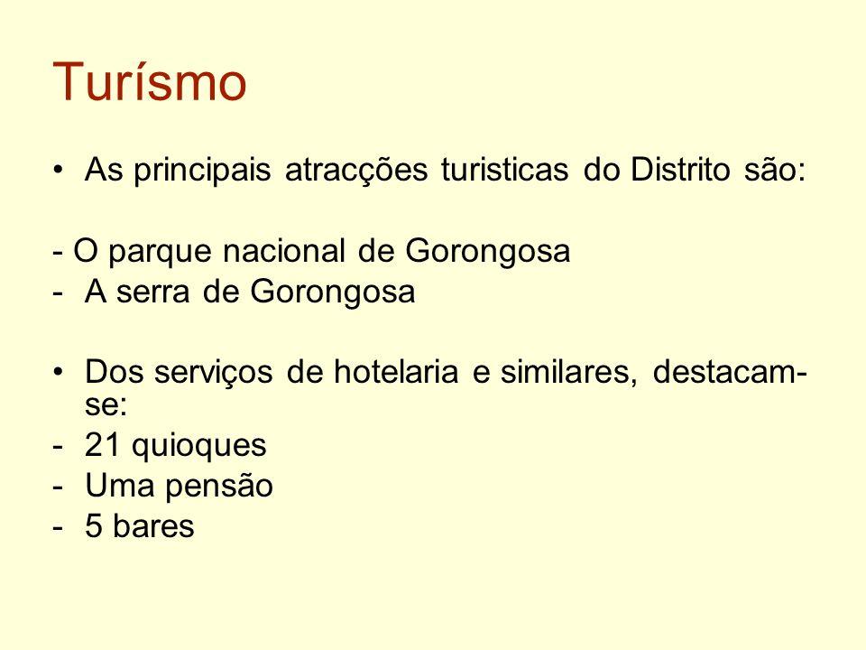 Turísmo As principais atracções turisticas do Distrito são: