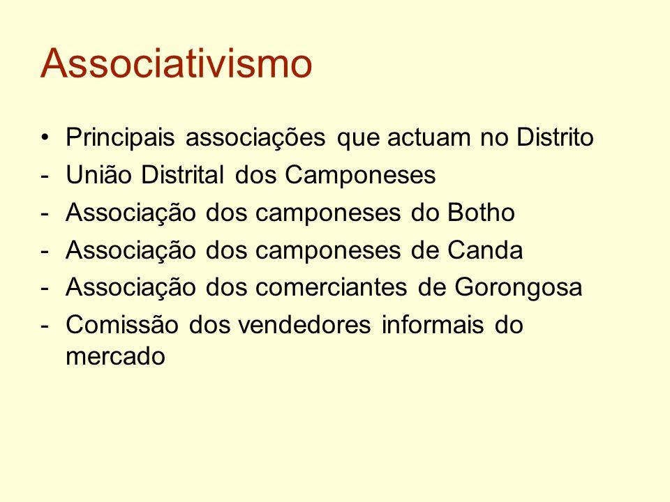 Associativismo Principais associações que actuam no Distrito