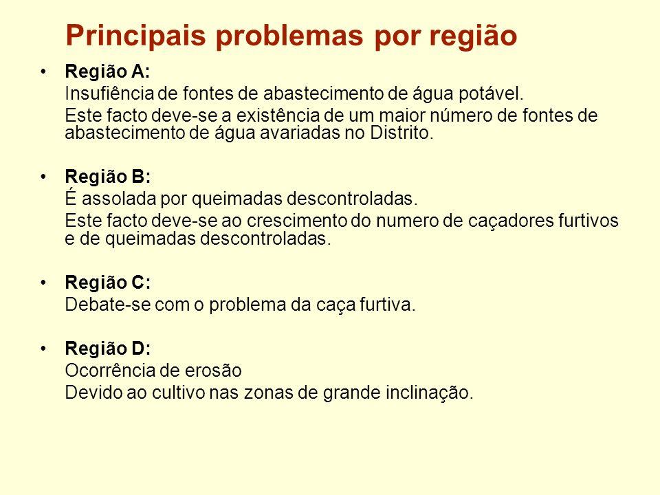 Principais problemas por região