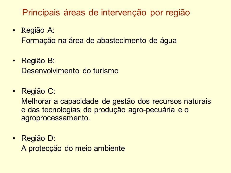 Principais áreas de intervenção por região