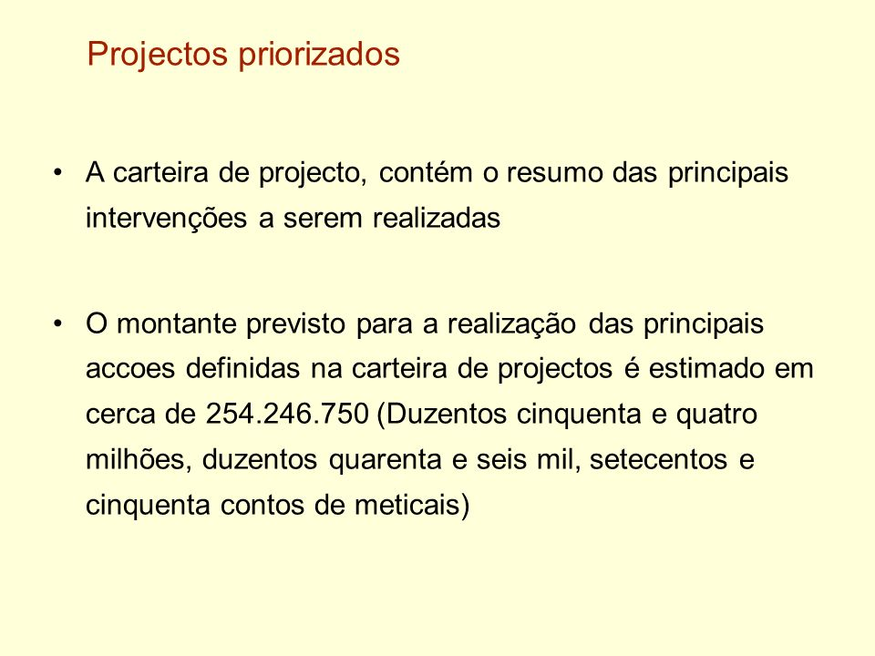 Projectos priorizados
