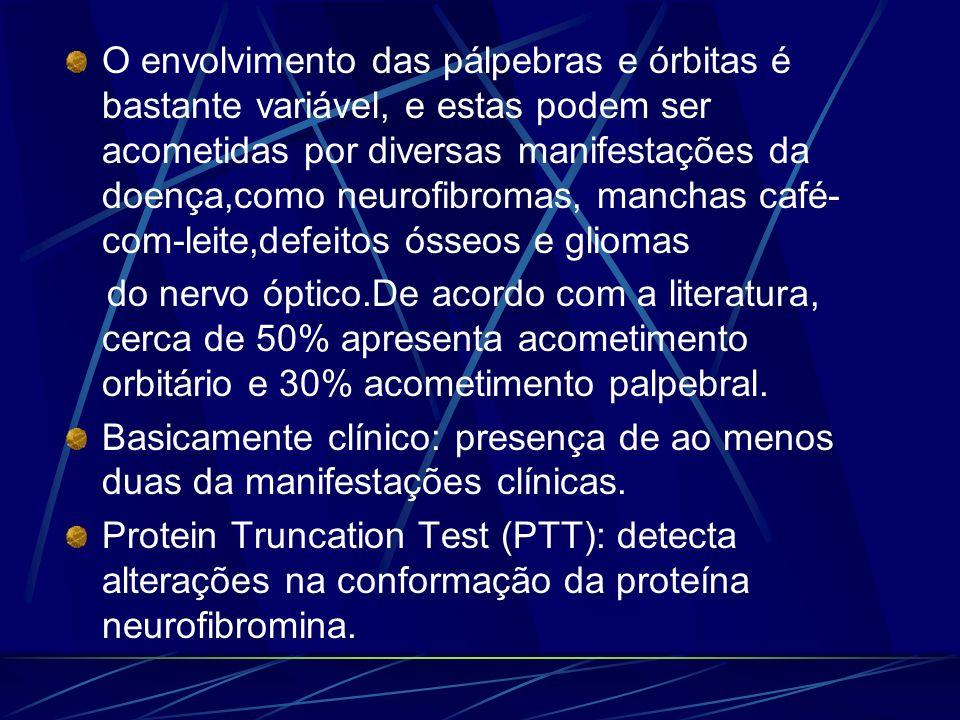 O envolvimento das pálpebras e órbitas é bastante variável, e estas podem ser acometidas por diversas manifestações da doença,como neurofibromas, manchas café-com-leite,defeitos ósseos e gliomas