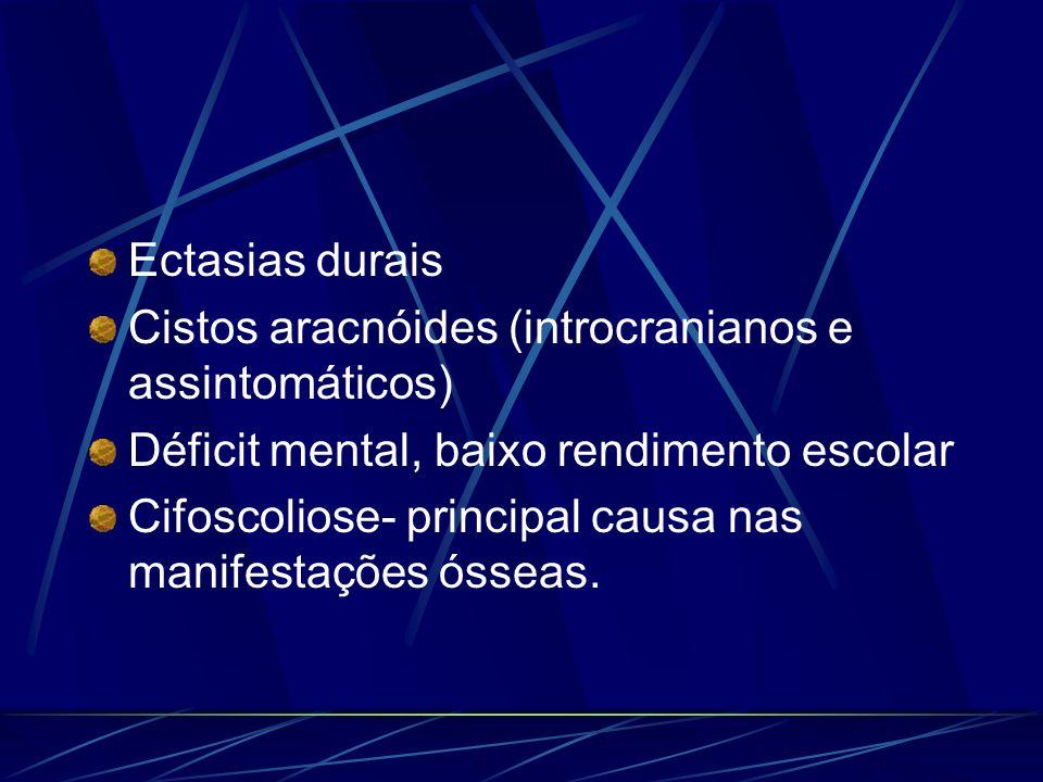 Ectasias duraisCistos aracnóides (introcranianos e assintomáticos) Déficit mental, baixo rendimento escolar.