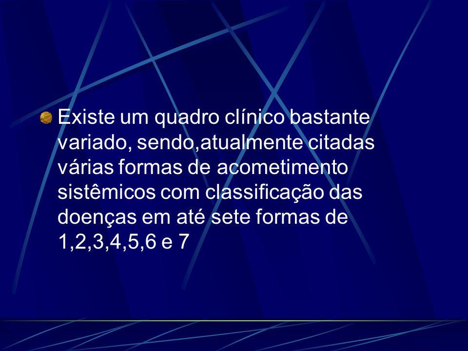 Existe um quadro clínico bastante variado, sendo,atualmente citadas várias formas de acometimento sistêmicos com classificação das doenças em até sete formas de 1,2,3,4,5,6 e 7