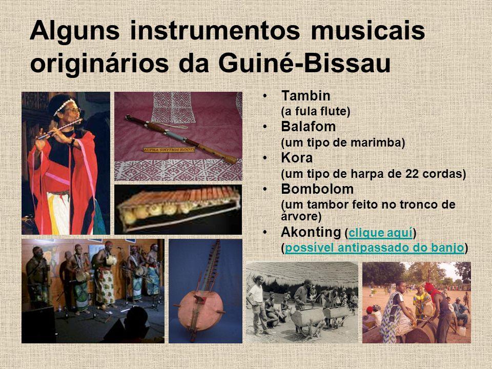 Alguns instrumentos musicais originários da Guiné-Bissau