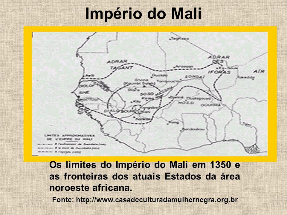 Império do Mali Os limites do Império do Mali em 1350 e as fronteiras dos atuais Estados da área noroeste africana.
