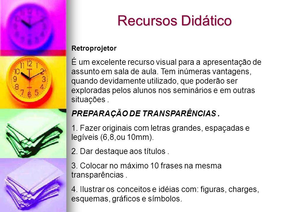 Recursos Didático Retroprojetor.