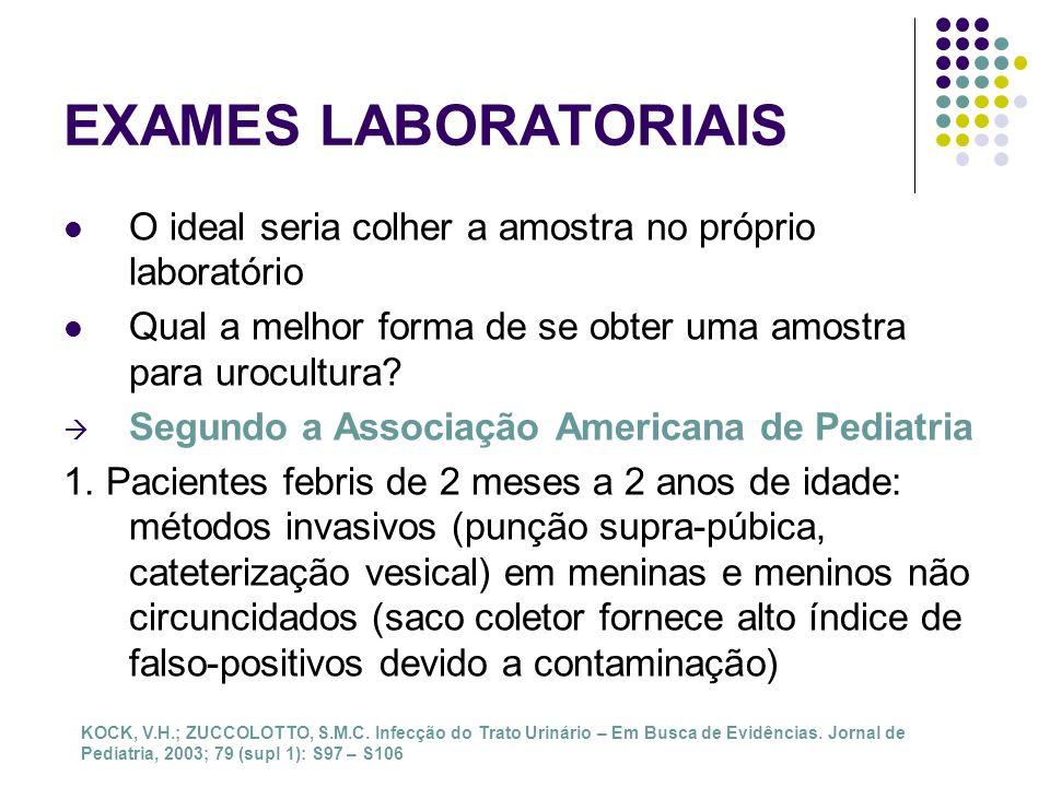 EXAMES LABORATORIAIS O ideal seria colher a amostra no próprio laboratório. Qual a melhor forma de se obter uma amostra para urocultura