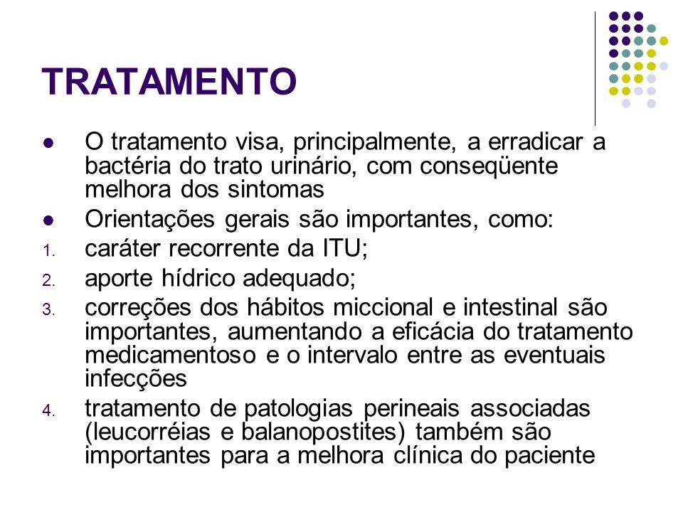 TRATAMENTO O tratamento visa, principalmente, a erradicar a bactéria do trato urinário, com conseqüente melhora dos sintomas.