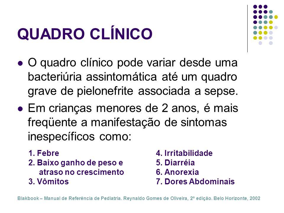 QUADRO CLÍNICOO quadro clínico pode variar desde uma bacteriúria assintomática até um quadro grave de pielonefrite associada a sepse.
