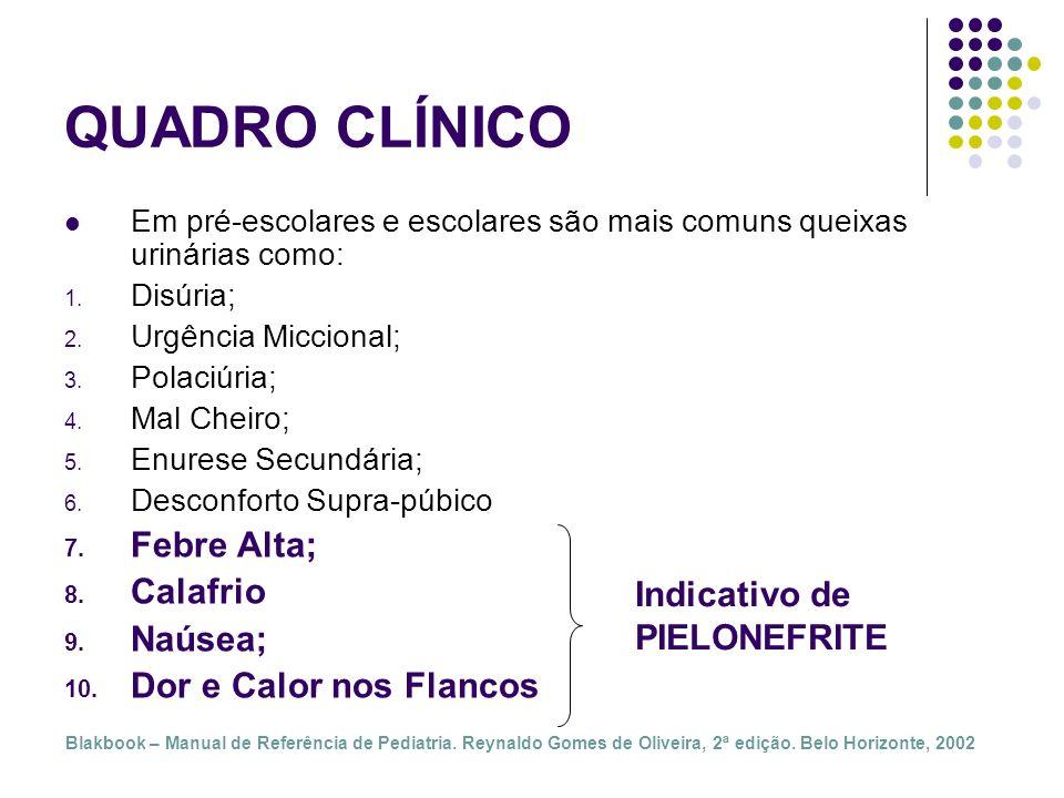 QUADRO CLÍNICO Febre Alta; Calafrio Naúsea; Dor e Calor nos Flancos
