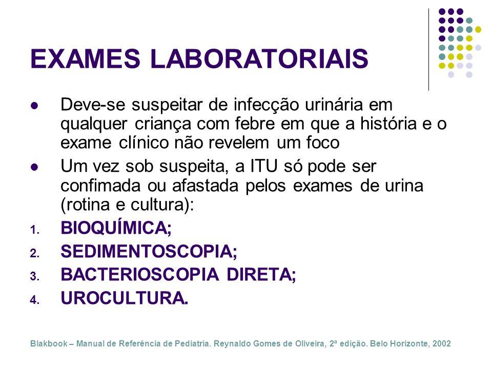 EXAMES LABORATORIAIS Deve-se suspeitar de infecção urinária em qualquer criança com febre em que a história e o exame clínico não revelem um foco.