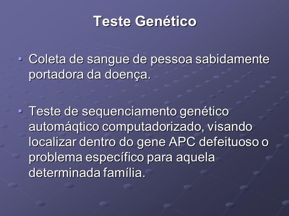 Teste Genético Coleta de sangue de pessoa sabidamente portadora da doença.