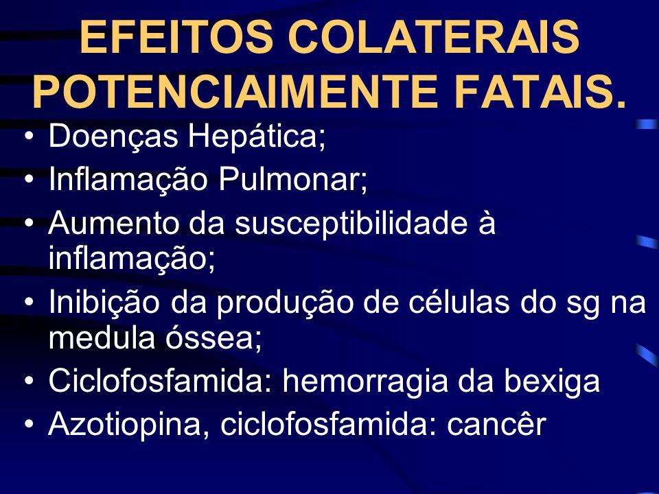 EFEITOS COLATERAIS POTENCIAlMENTE FATAIS.