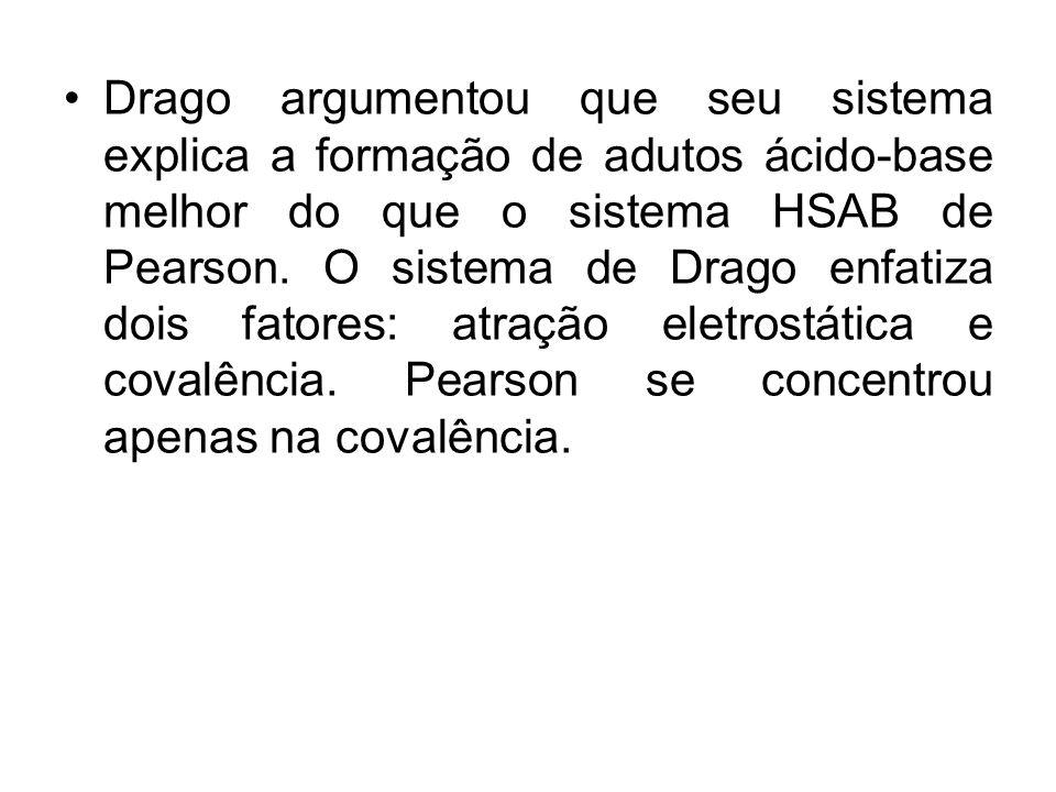 Drago argumentou que seu sistema explica a formação de adutos ácido-base melhor do que o sistema HSAB de Pearson.