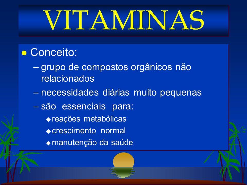 VITAMINAS Conceito: grupo de compostos orgânicos não relacionados