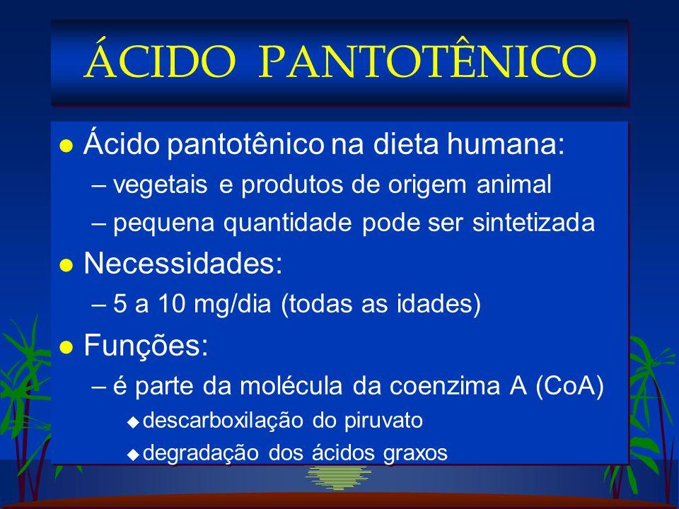 ÁCIDO PANTOTÊNICO Ácido pantotênico na dieta humana: Necessidades: