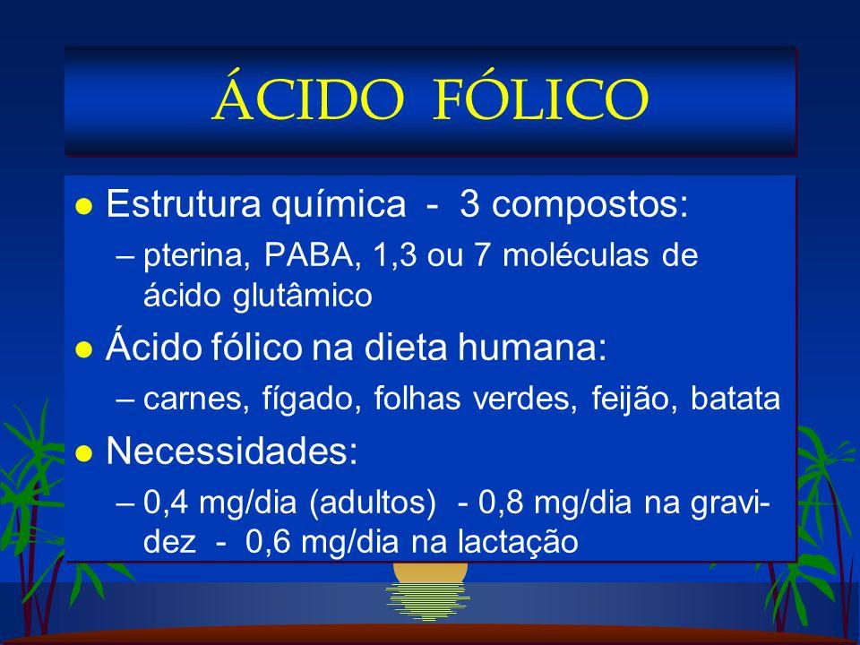 ÁCIDO FÓLICO Estrutura química - 3 compostos: